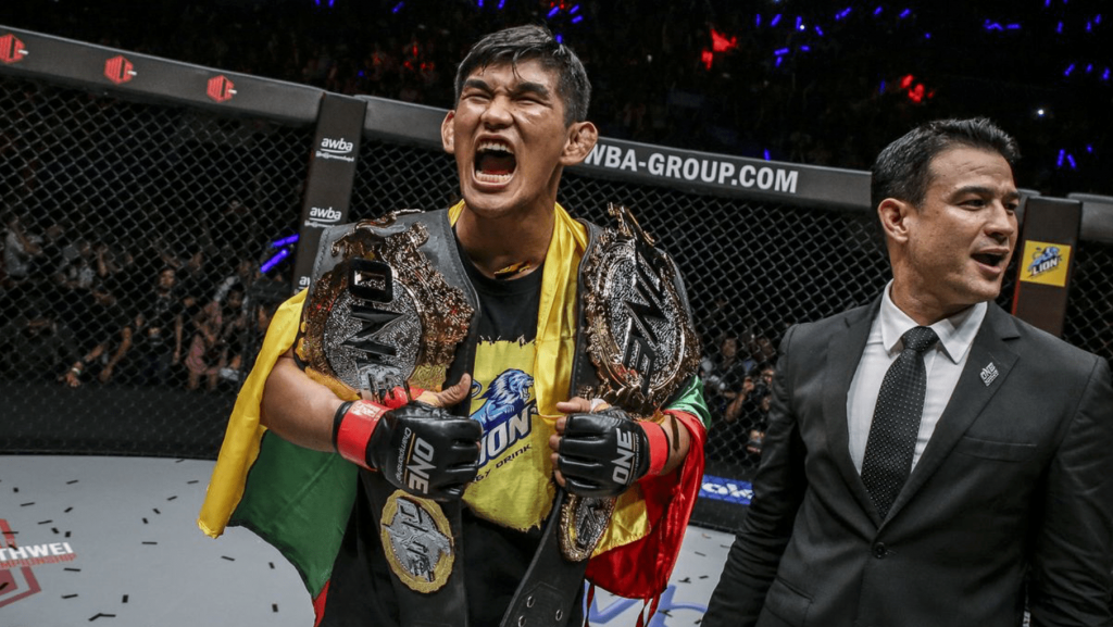 Aung La N Sang with his two ONE belts