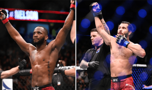 UFC Leon Edwards and Jorge Masvidal getting their hands raised inside the UFC Octagon