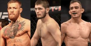 UFC lightweight Conor McGregor, Khabib Nurmagomedov and Tony Ferguson