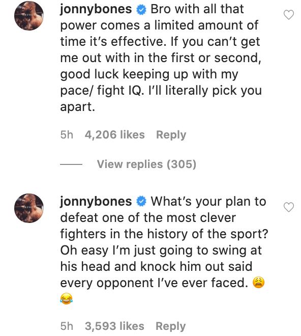 UFC Jon Jones response to Francis Ngannou on Instagram