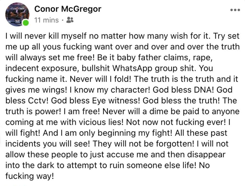 Conor McGregor Deleted FB Statement
