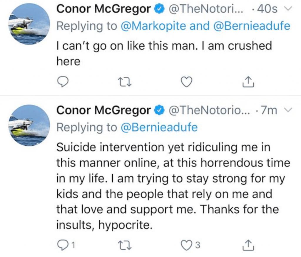 Conor McGregor Tweet and Delete